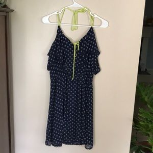 Navy blue dress with pattern and lace trim